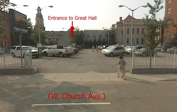 Entrance to Great Hall and Parking